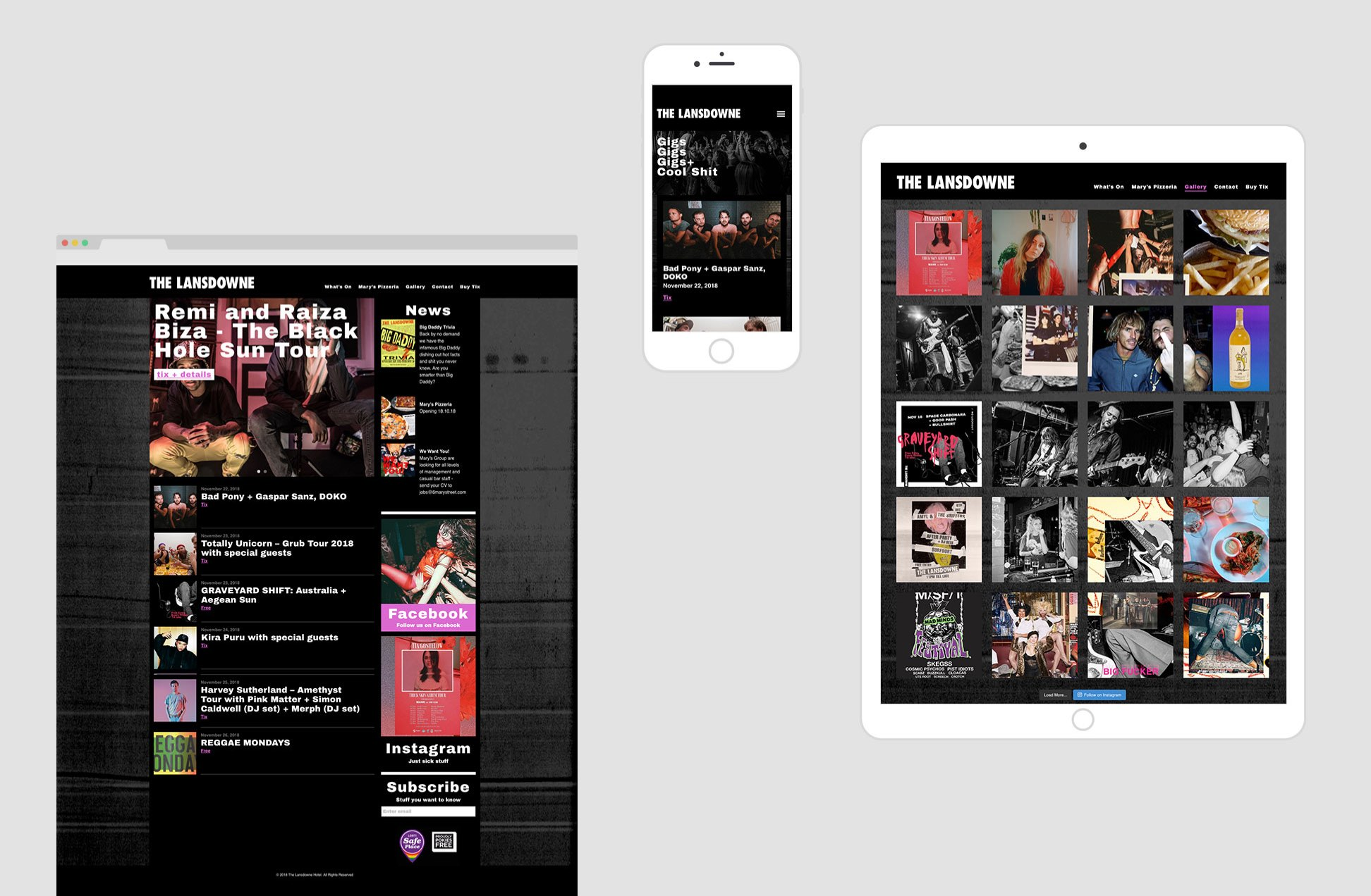 The Lansdowne Hotel responsive screens