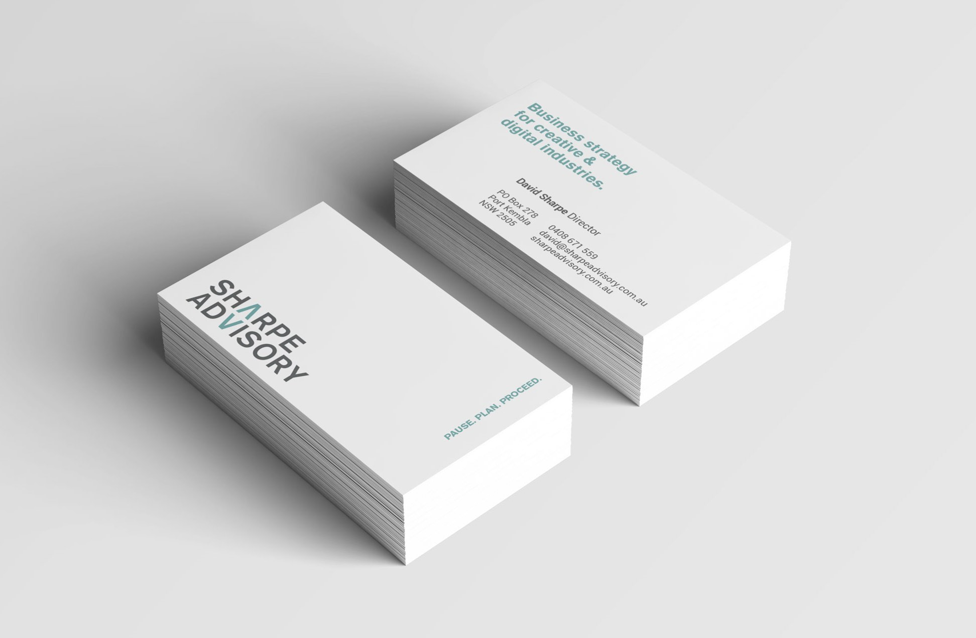 Sharpe Advisory business cards