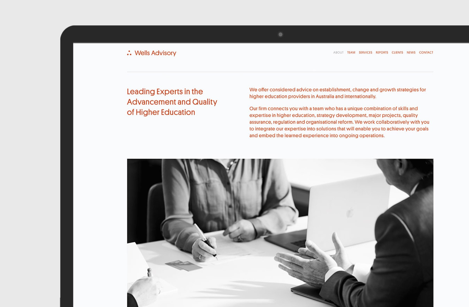 Wells Advisory website about