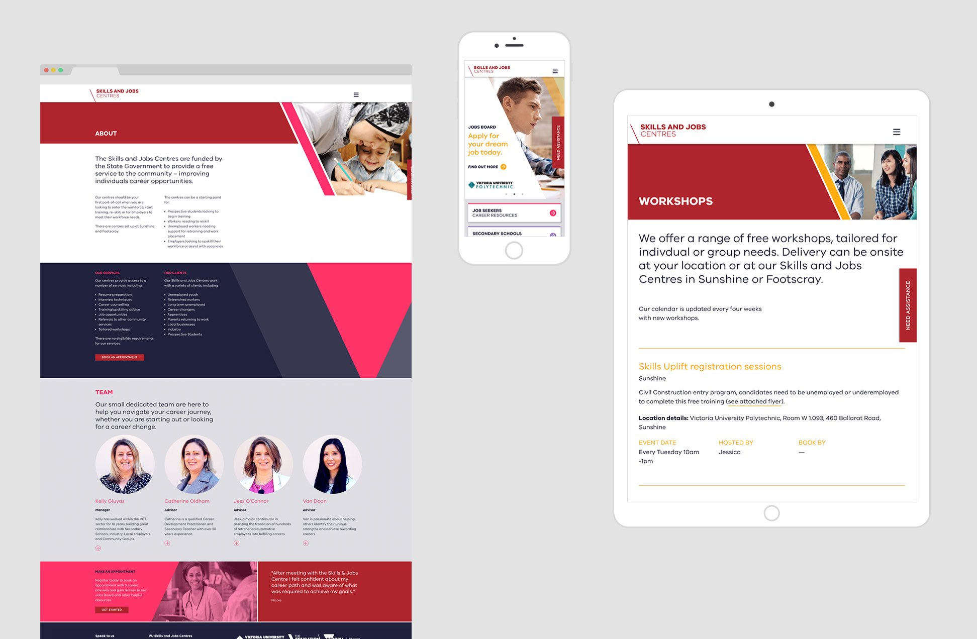 Skills & Jobs Centre - responsive layouts